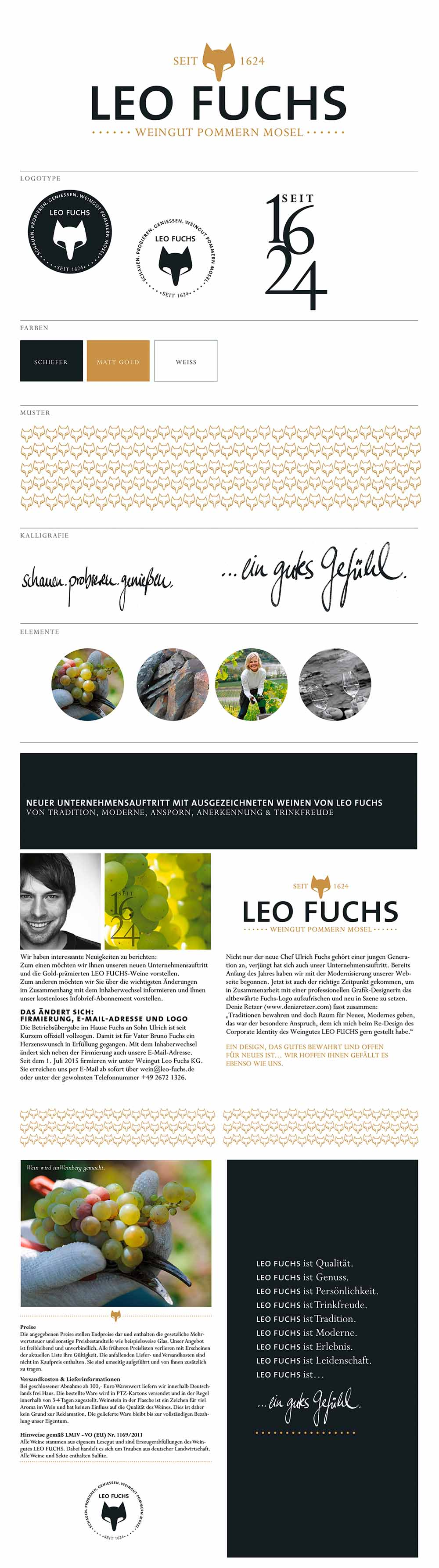 Logo-Gestaltung und CI-Entwicklung für das Weingut Leo Fuchs.