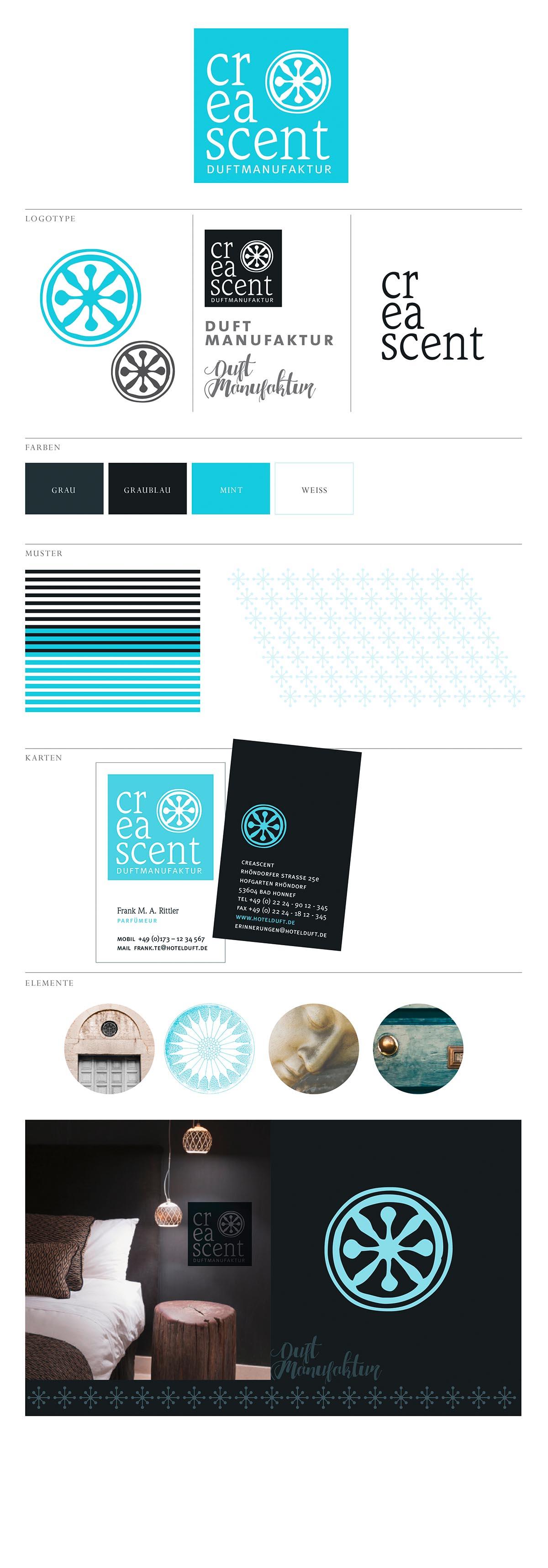 Moodboard Logo-Design für Creascent Durftmanufaktur