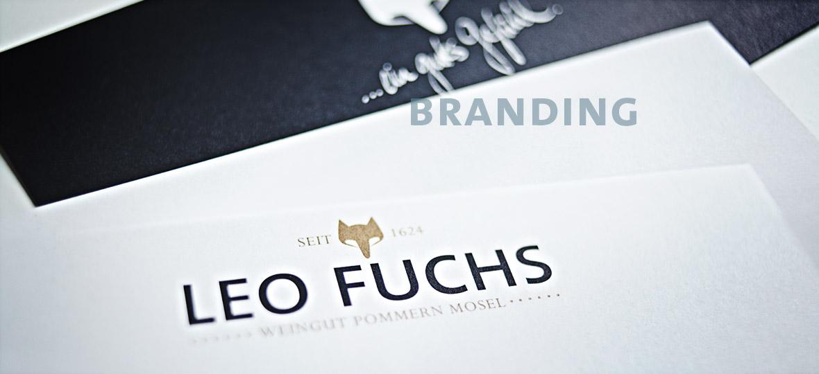 logo-gestaltung und neupositionierung des weinguts leo fuchs