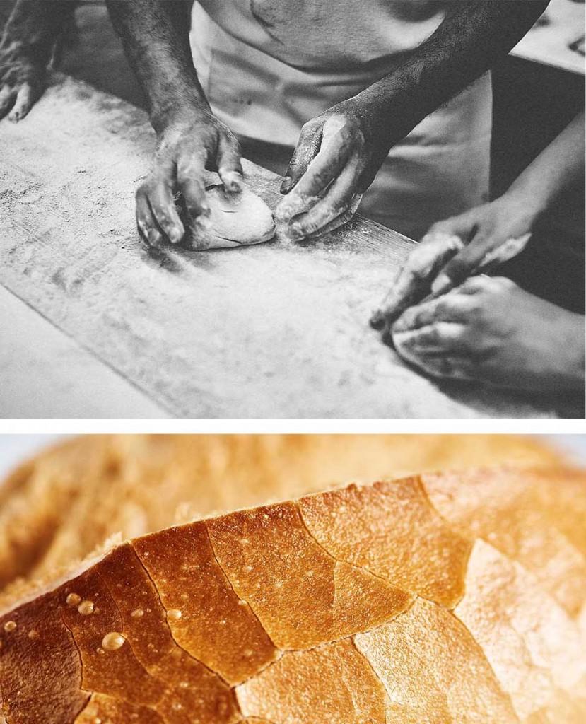Food-Editorial Bäcker beim Kneten von Teig