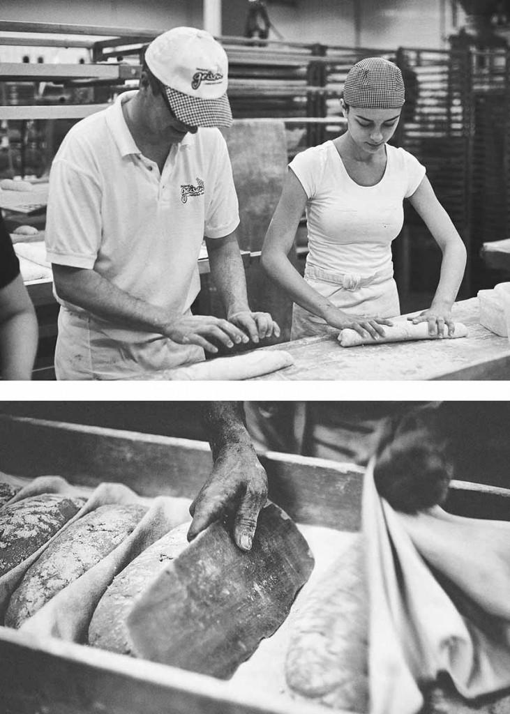 Food-Reportage Bäcker beim Kneten von Broten - Foodfotografie neon fotografie / huebsch huebsch