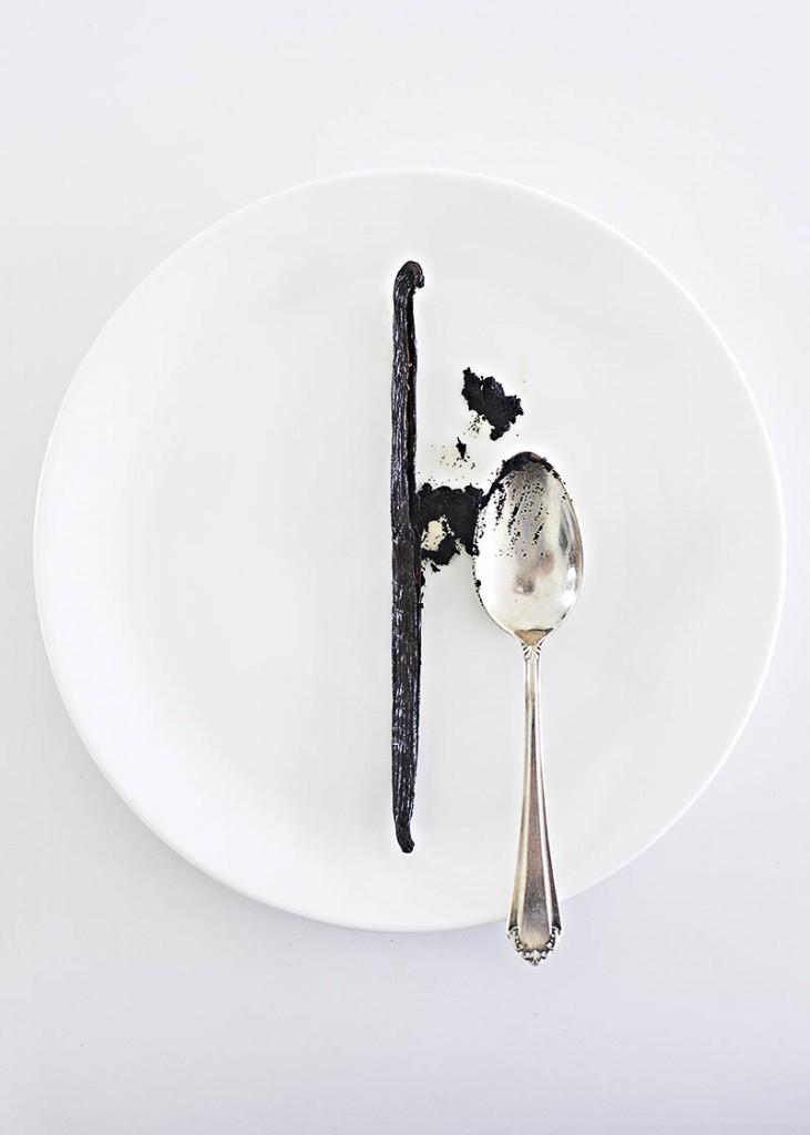 Moderne und minimalistische Food-Fotografie einer ausgekratzten Vanille-Schote auf weißem Teller mit Silberlöffel und viel Freiraum